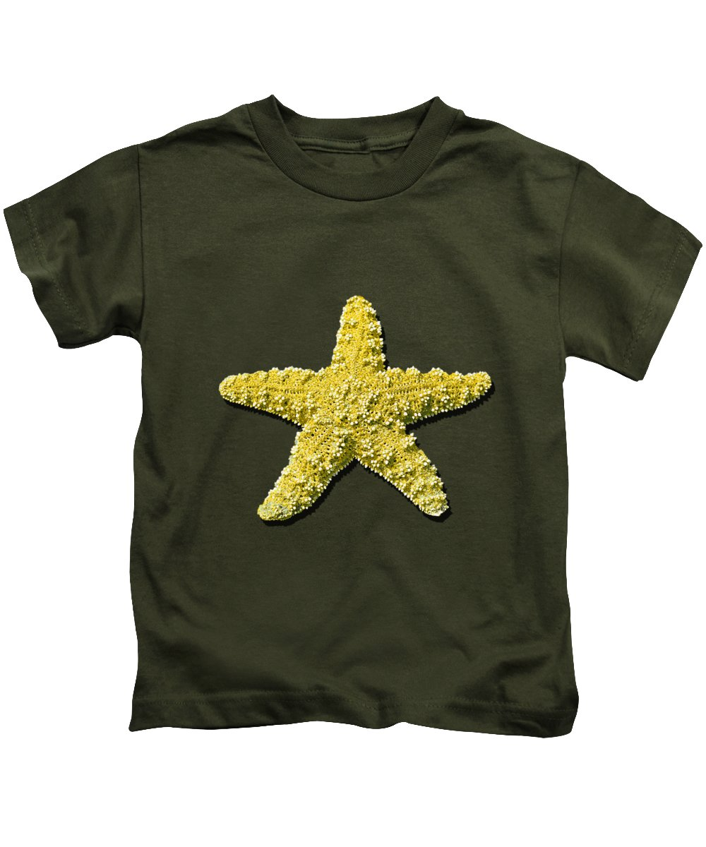 Sea Star Kids T-Shirt featuring the photograph Sea Star Yellow .png by Al Powell Photography USA