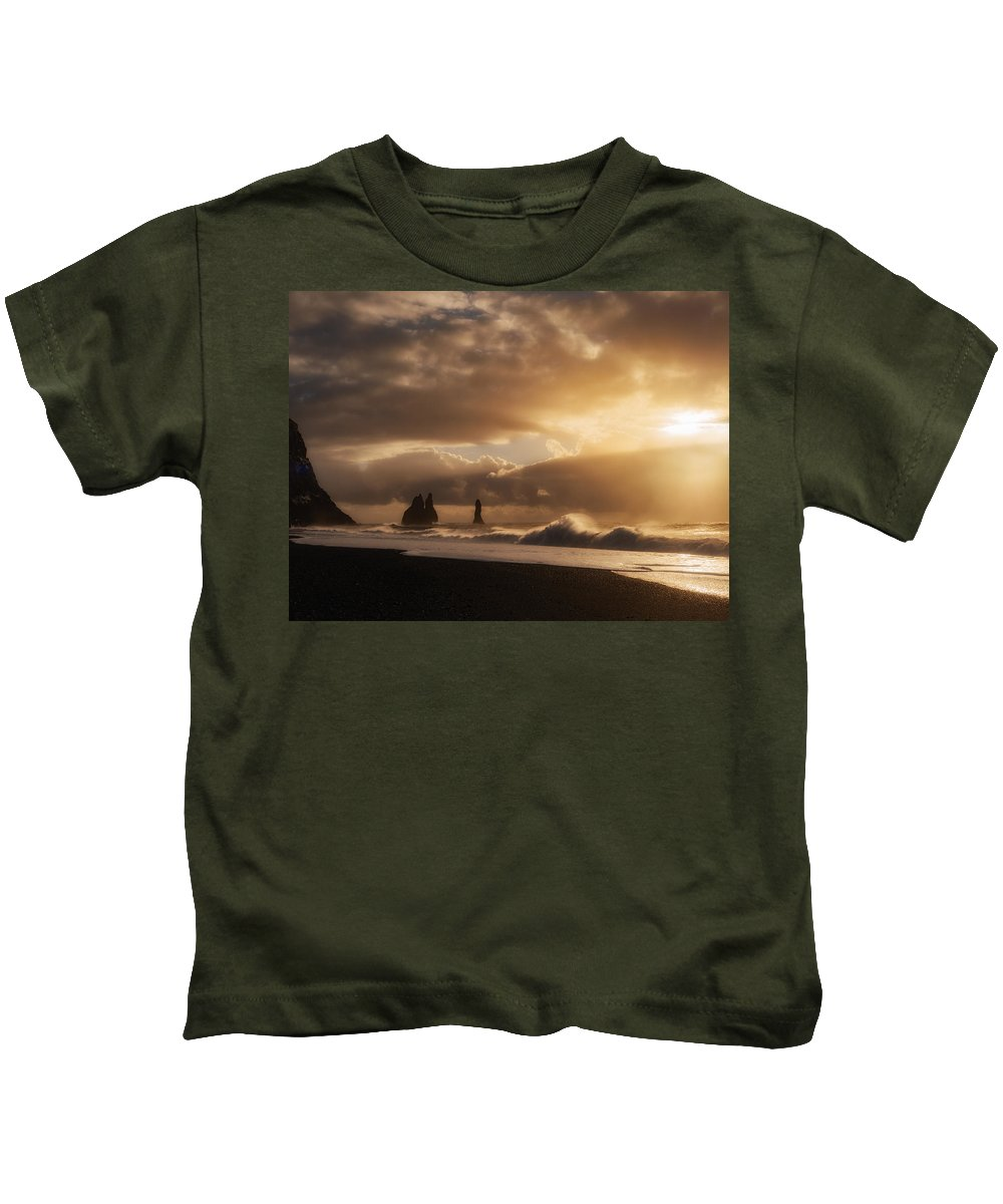 Dyrholaey Kids T-Shirt featuring the photograph Seascape Dream by Dan Leffel