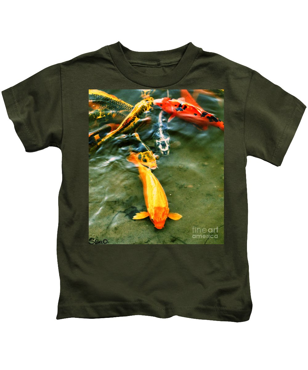 Koi Kids T-Shirt featuring the photograph Secrets Of The Wild Koi 11 by September Stone