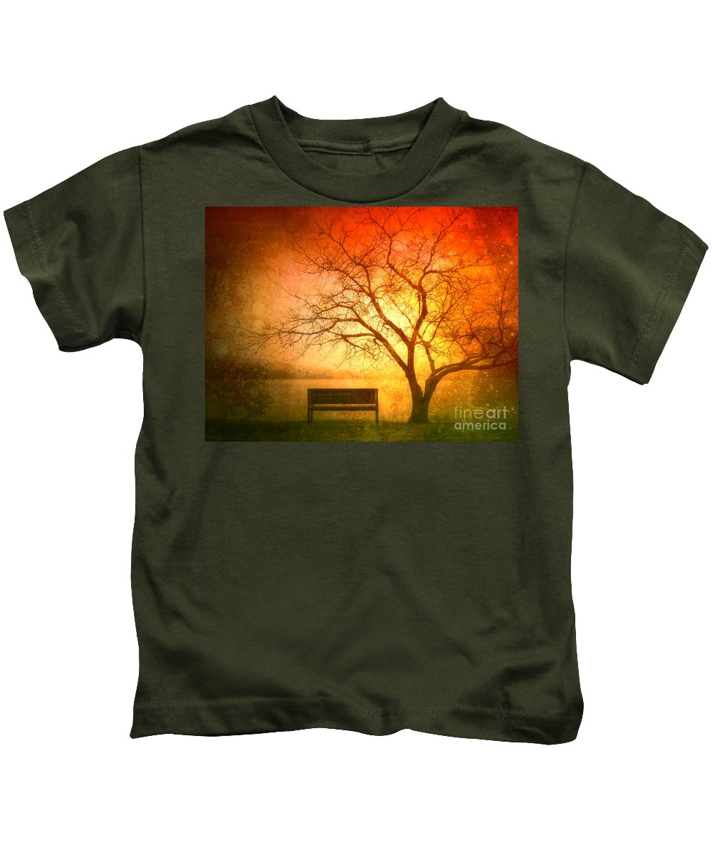 Bench Kids T-Shirt featuring the photograph Seeking Shelter by Tara Turner
