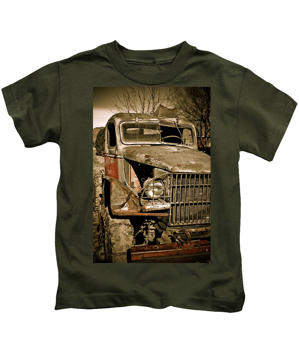 Old Vintage Antique Truck Worn Western Kids T-Shirt featuring the photograph Seen Better Days by Marilyn Hunt