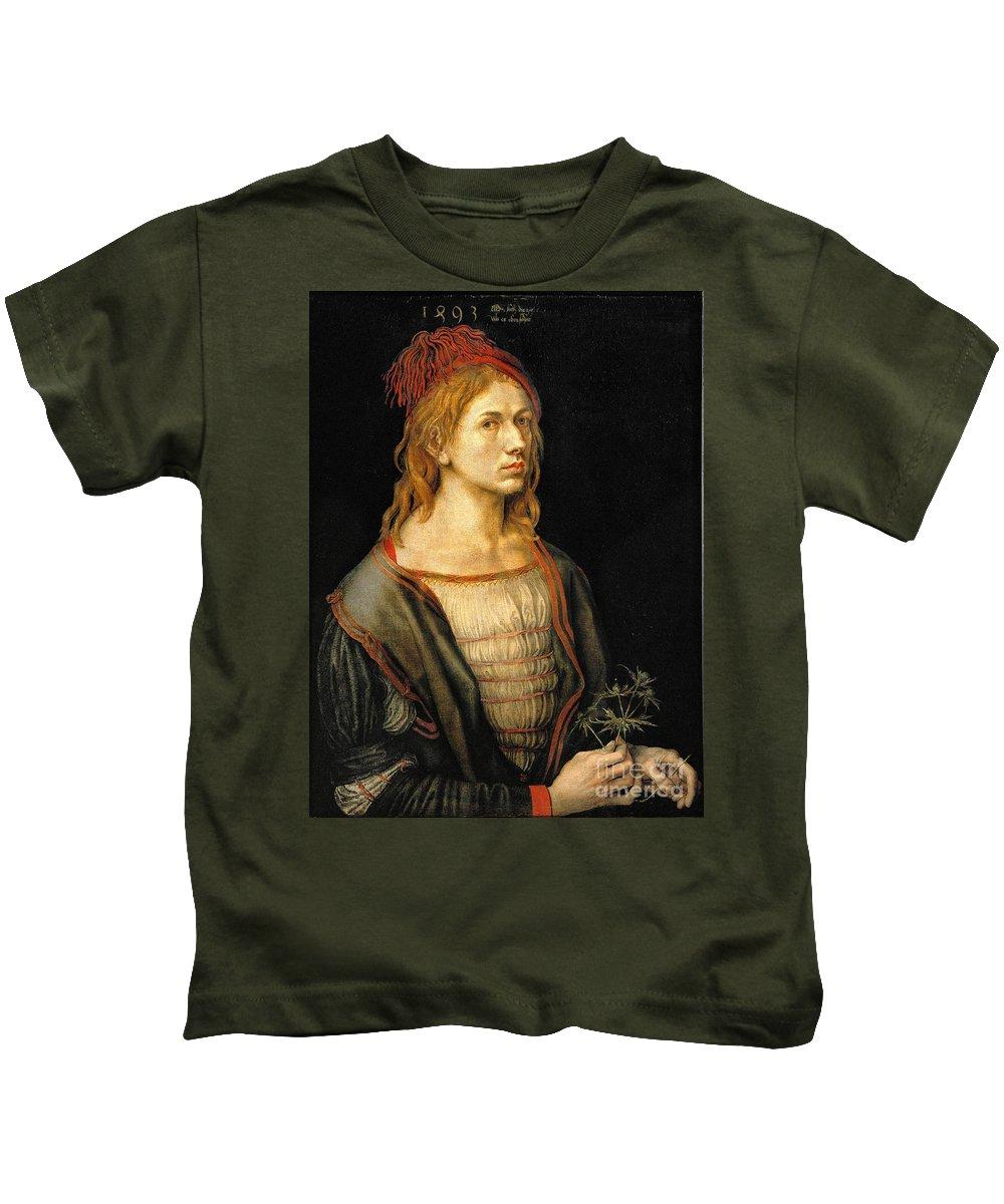 Albrecht Durer Kids T-Shirt featuring the painting Albrecht Durer Self Portrait 1493 by Art Anthology