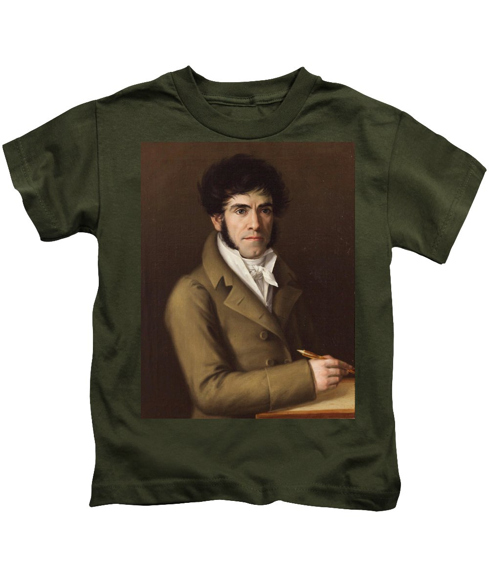 Rafael Tejeo Kids T-Shirt featuring the painting Self Portrait by Rafael Tejeo