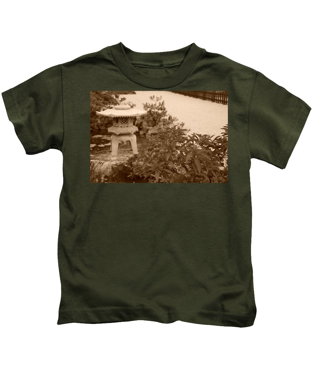 Sepia Kids T-Shirt featuring the photograph Sepia Japanese Garden by Rob Hans