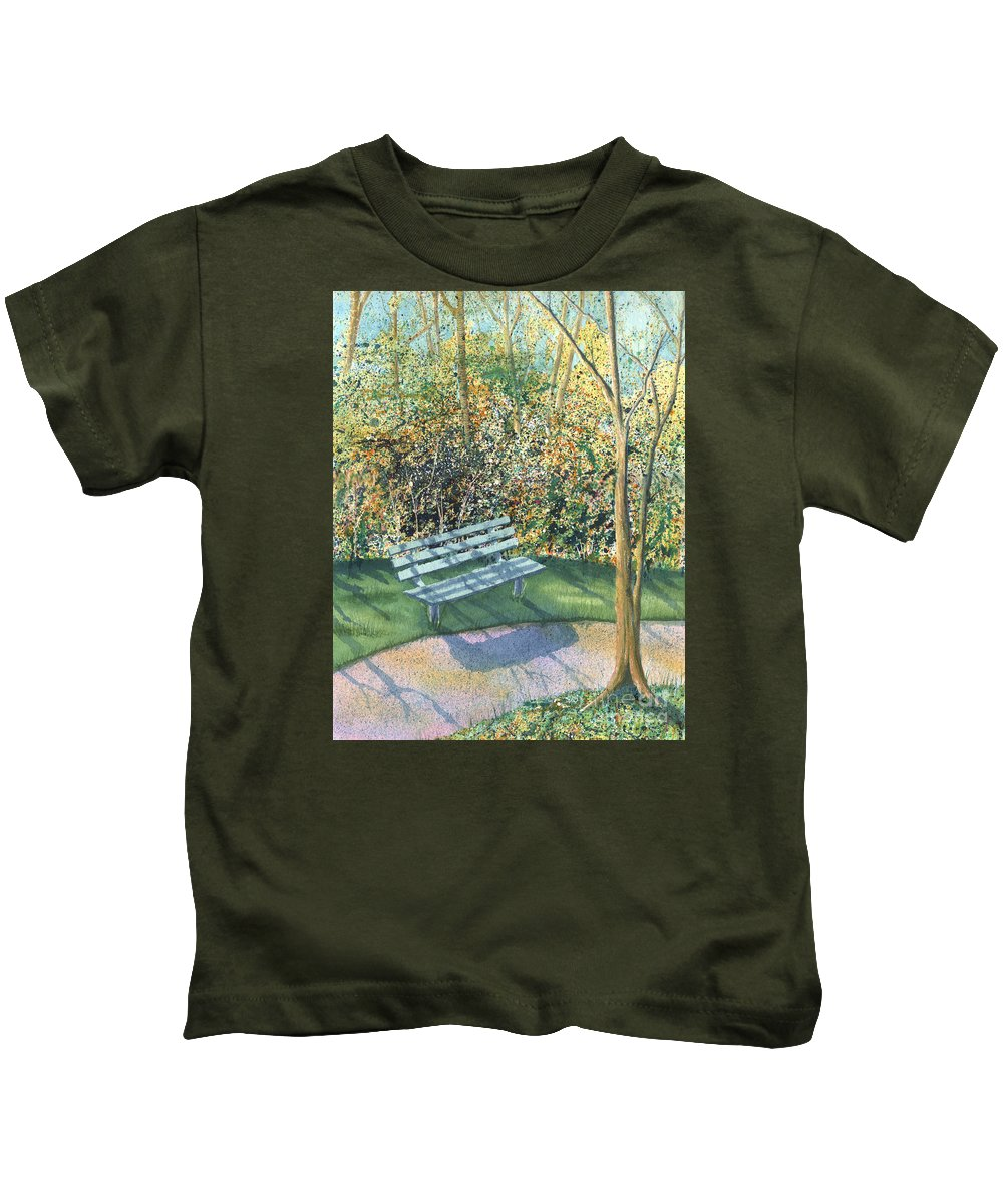 Autumn Trees Kids T-Shirt featuring the painting September Afternoon by Lynn Quinn