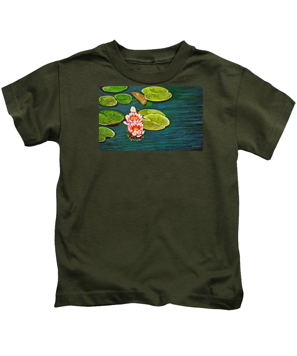 Water Lily Kids T-Shirt featuring the painting Serenity by Michael Durst