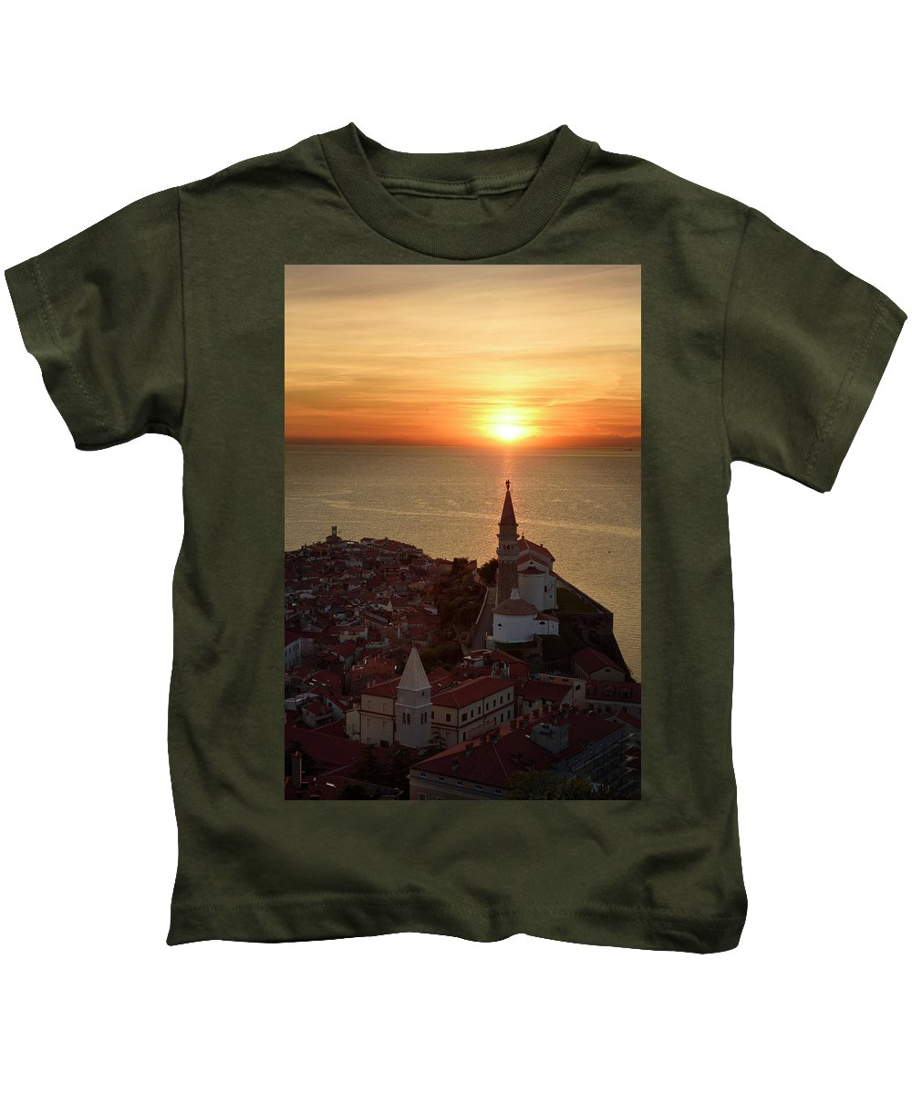 Setting Kids T-Shirt featuring the photograph Setting Sun On The Adriatic Sea Behind Archangel Michael On Top by Reimar Gaertner