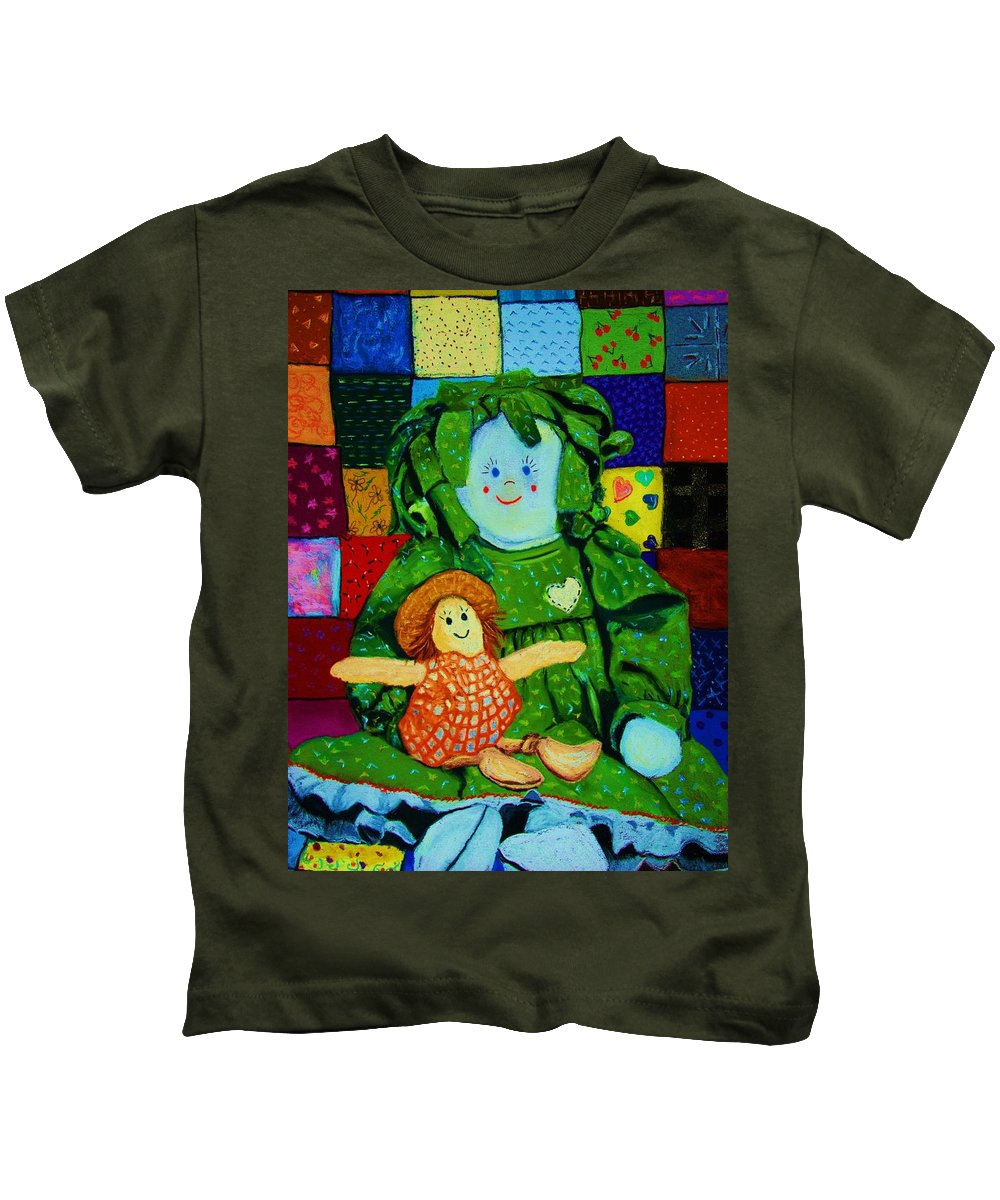 Dolls Kids T-Shirt featuring the print Sew Sweet by Melinda Etzold