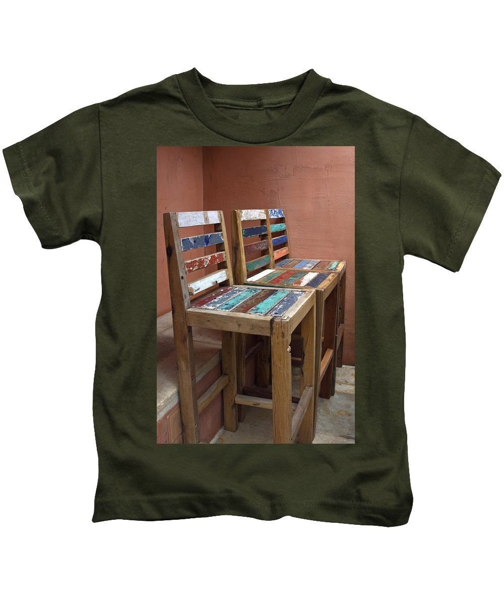 3 Shabby Chic Wood Chairs Kids T-Shirt featuring the photograph Shabby Chic Chairs by Sally Weigand