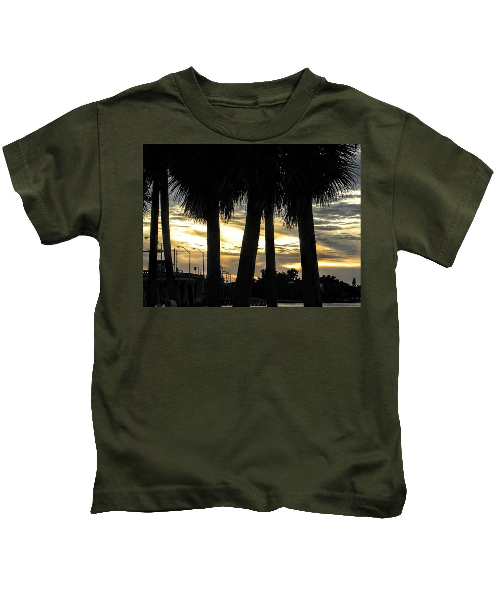 Palm Trees Kids T-Shirt featuring the photograph Shaded Palms by Ric Schafer