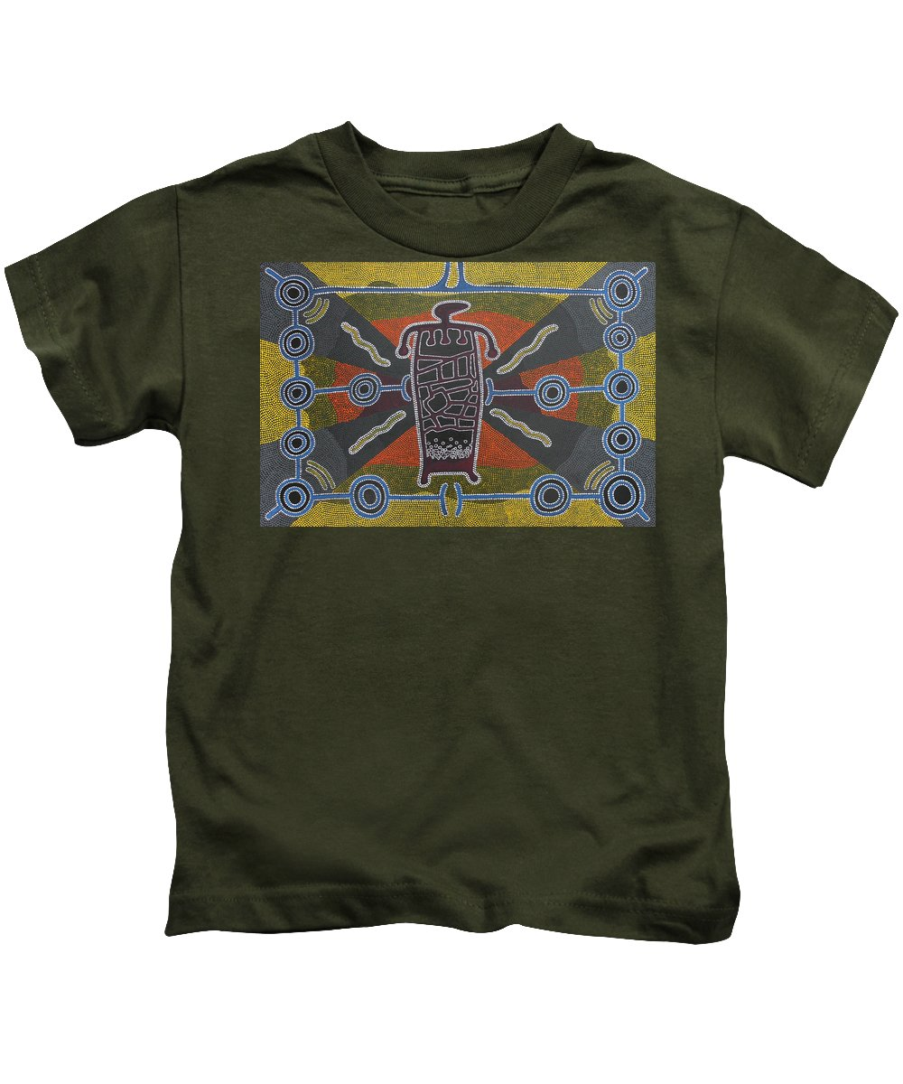 Spiritual Kids T-Shirt featuring the painting Shaman IIi by Roger Knox