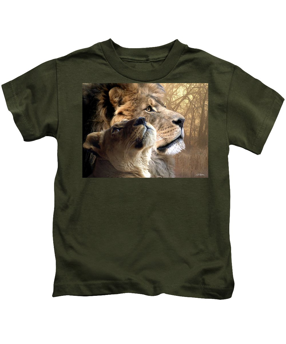Lions Kids T-Shirt featuring the digital art Sharing The Vision by Bill Stephens