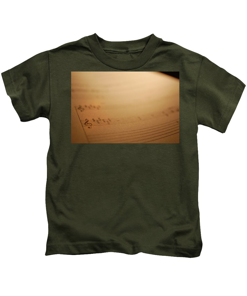 Music Kids T-Shirt featuring the photograph Sheet Music by Jacqueline Dickens