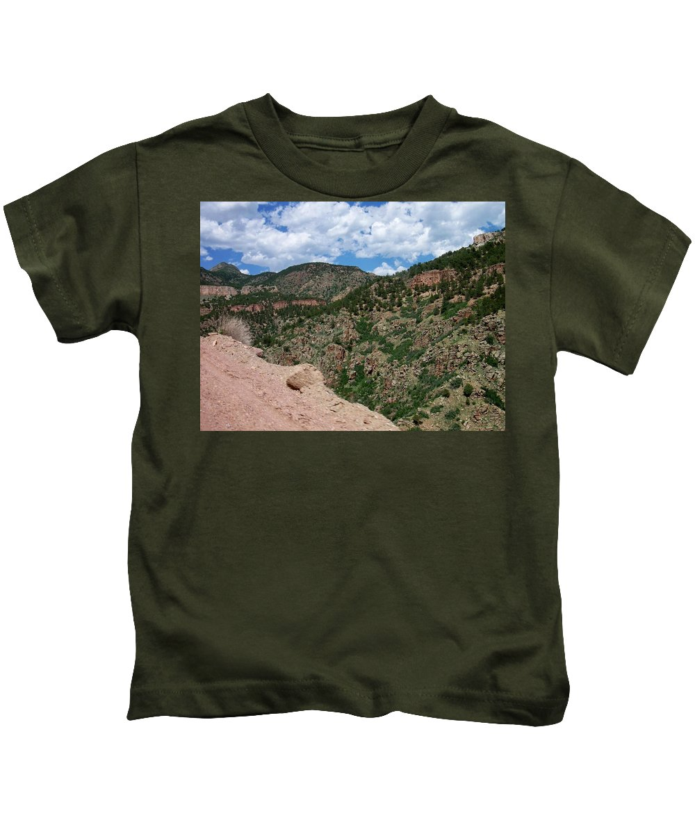 Shelf Road Kids T-Shirt featuring the photograph Shelf Road Drop Off by Anita Burgermeister