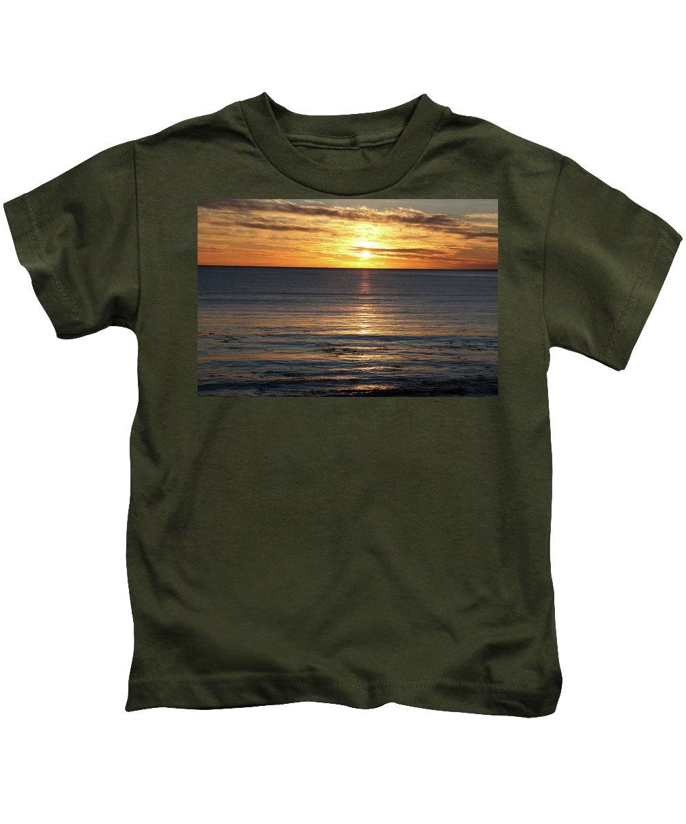 Shell Beach California Sunset Ocean Pacific Kids T-Shirt featuring the photograph Shell Beach Sunset by Teresa Ferguson