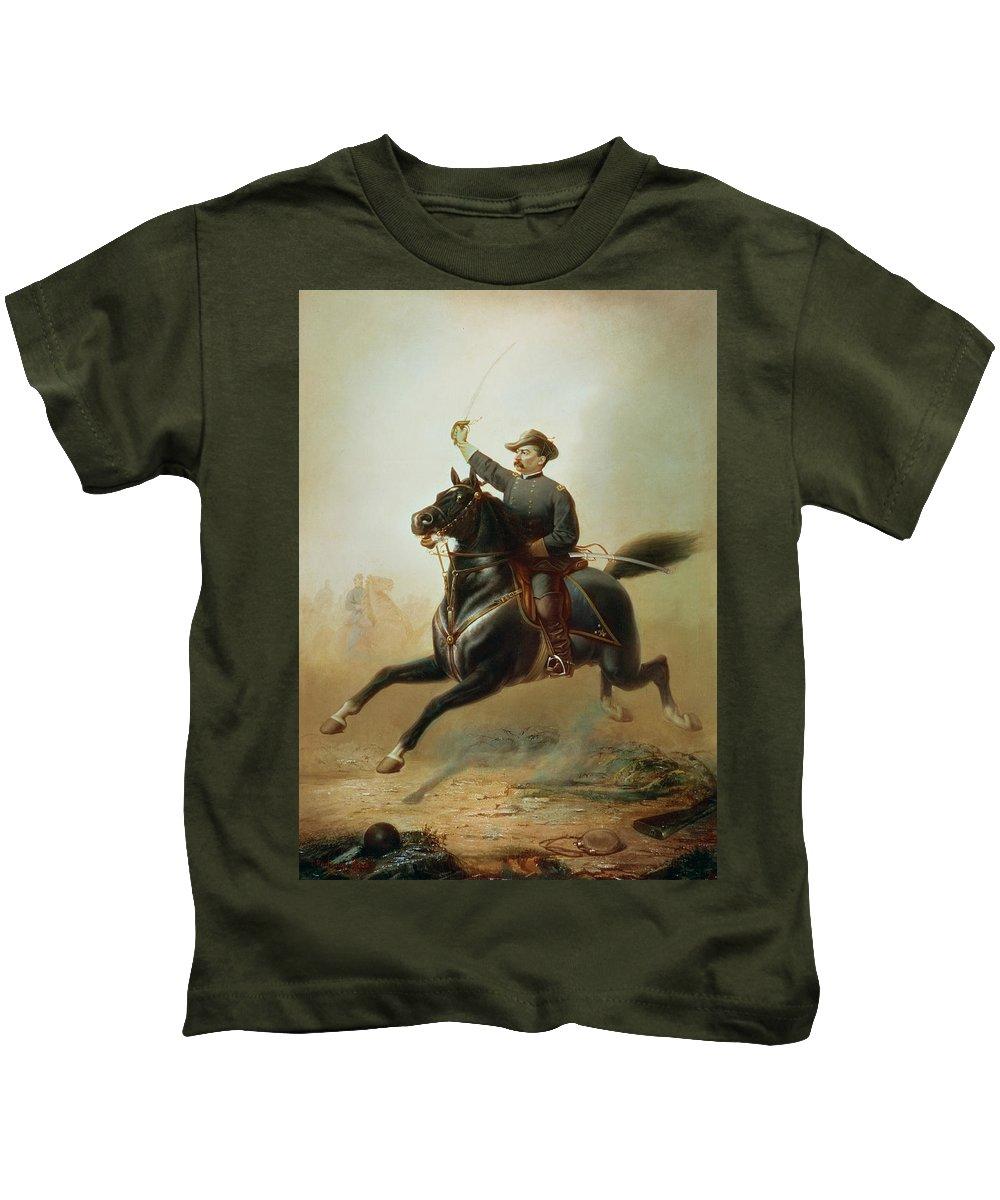 Sheridan Kids T-Shirt featuring the painting Sheridan's Ride by Thomas Buchanan Read