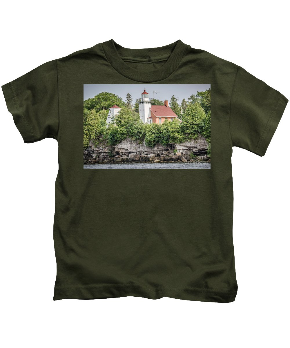 Great Lakes Lighthouse Kids T-Shirt featuring the photograph Sherwood Point Lighthouse by Nikki Vig