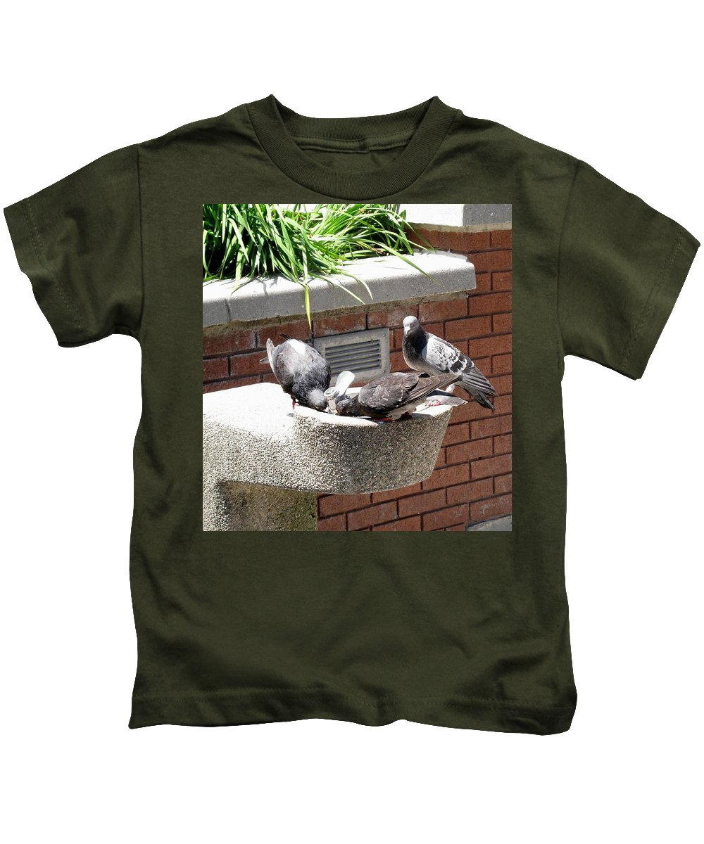 Pigeons Kids T-Shirt featuring the photograph Shooo by Ian MacDonald