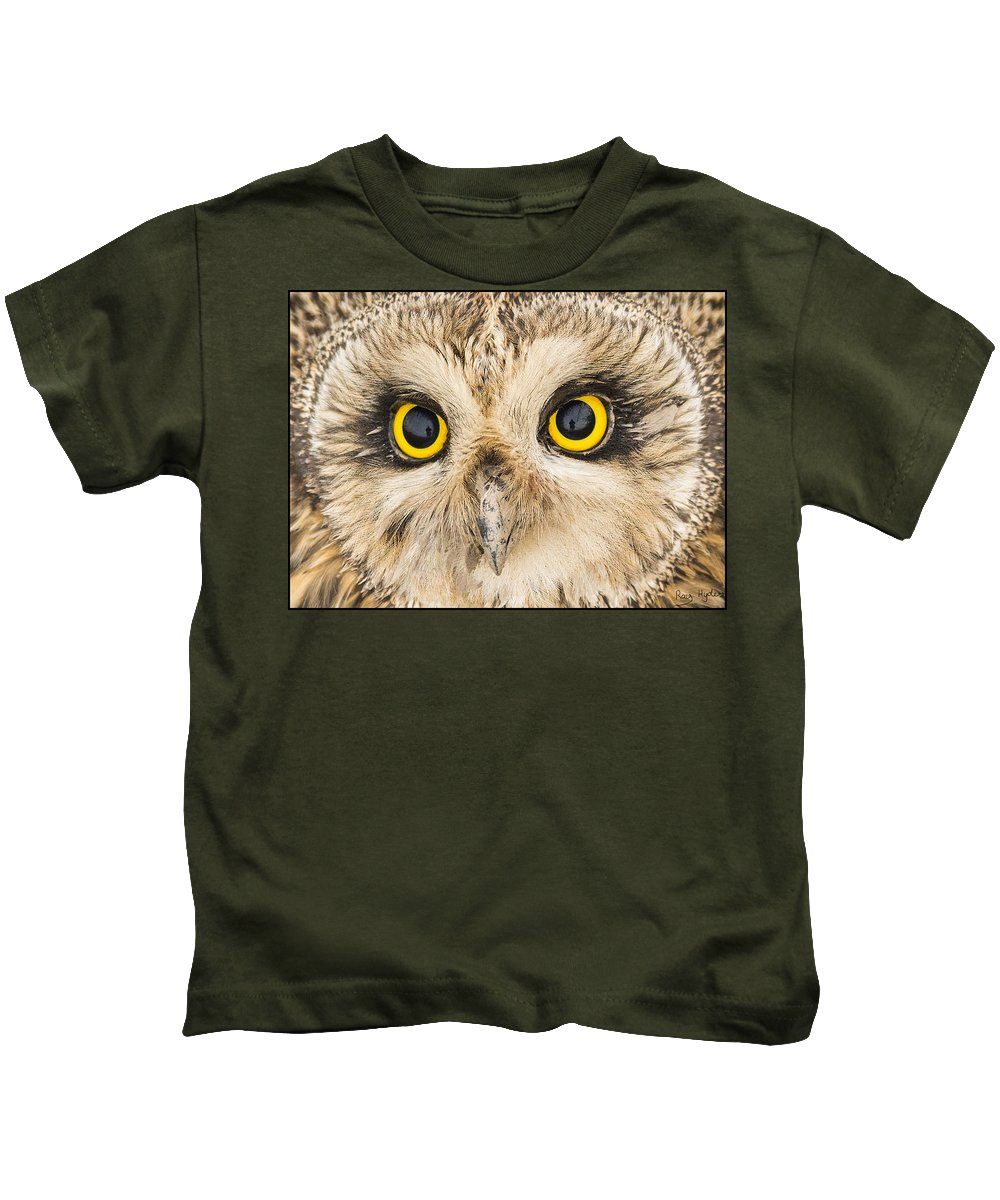 Close Up Kids T-Shirt featuring the photograph Short-eared Owl Face by Ray Hydes