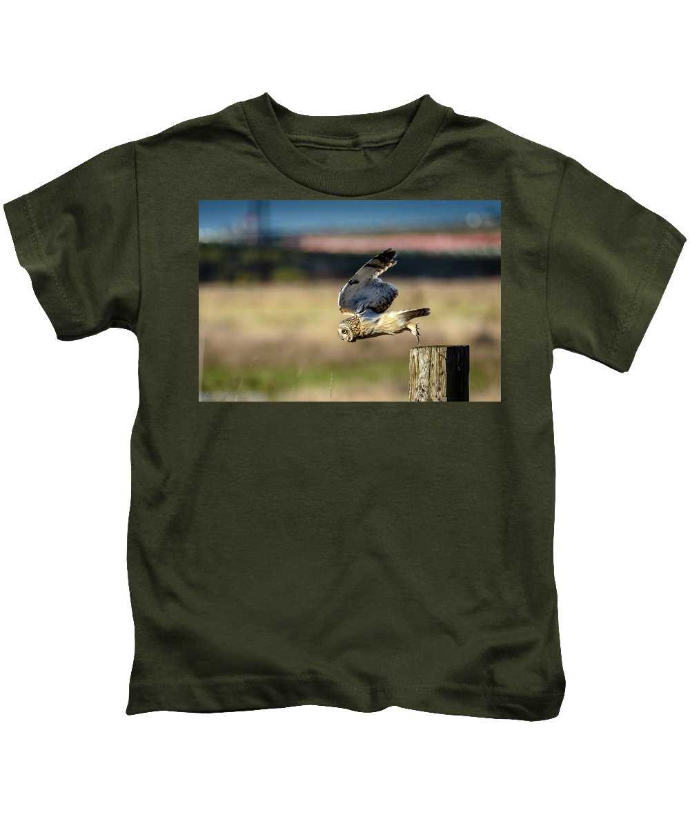 Owl Kids T-Shirt featuring the photograph Short-eared Owl Takeoff by Michael McAuliffe