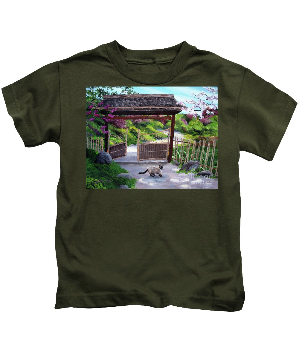 Siamese Cat Kids T-Shirt featuring the painting Siamese Cat At Hakone Side Gate by Laura Iverson