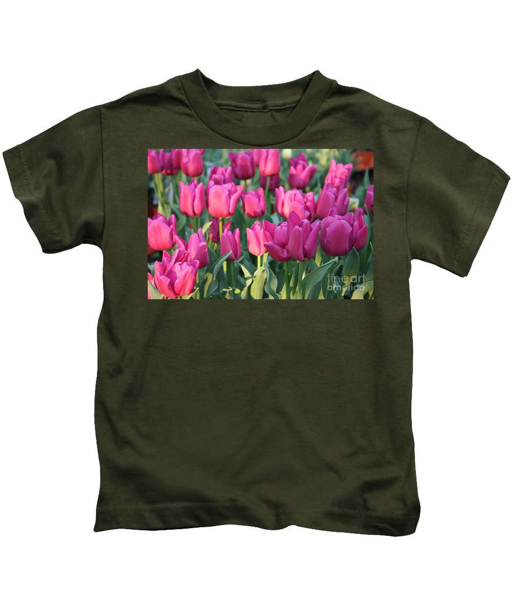Pink Tulips Kids T-Shirt featuring the photograph Silky Pink Tulips by Carol Groenen