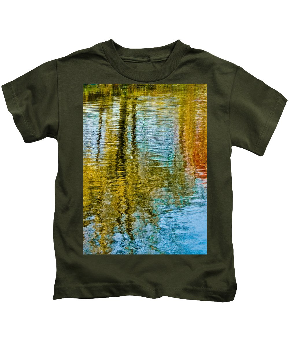 Silver Kids T-Shirt featuring the photograph Silver Lake Autum Tree Reflections by Michael Bessler