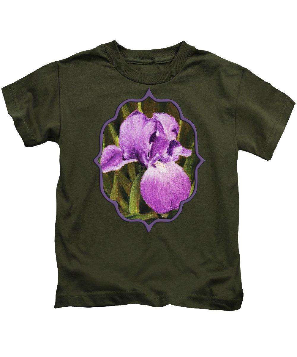 Plant Kids T-Shirt featuring the painting Single Iris by Anastasiya Malakhova