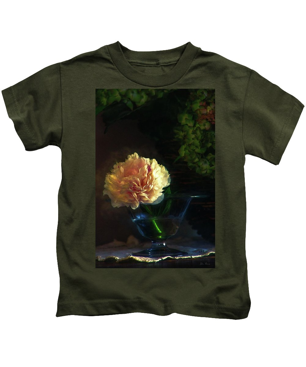 Flower Kids T-Shirt featuring the photograph Single Peony by John Rivera