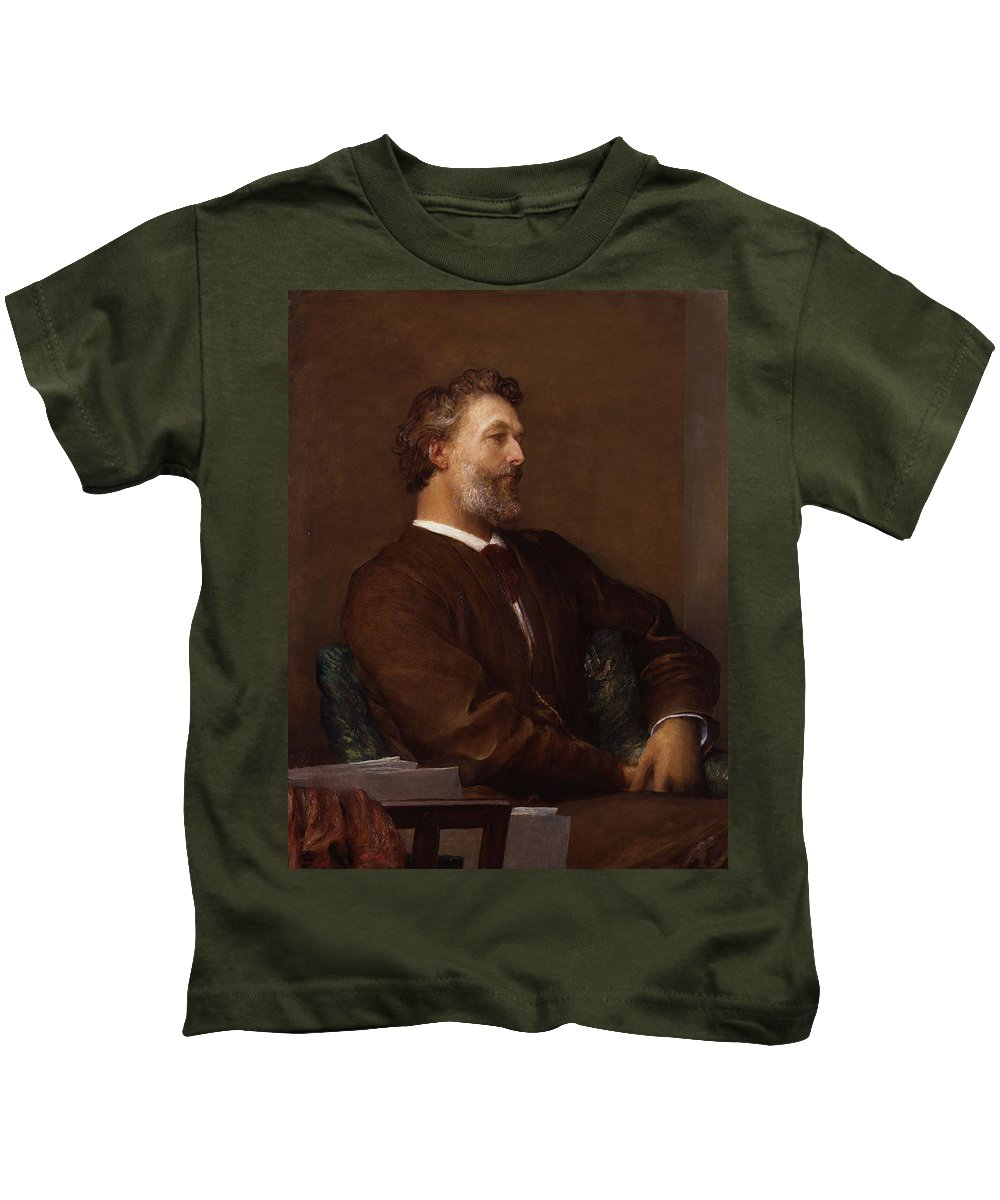 Sir Frederick Leighton By George Frederic Watts Kids T-Shirt featuring the painting Sir Frederick Leighton By George by MotionAge Designs
