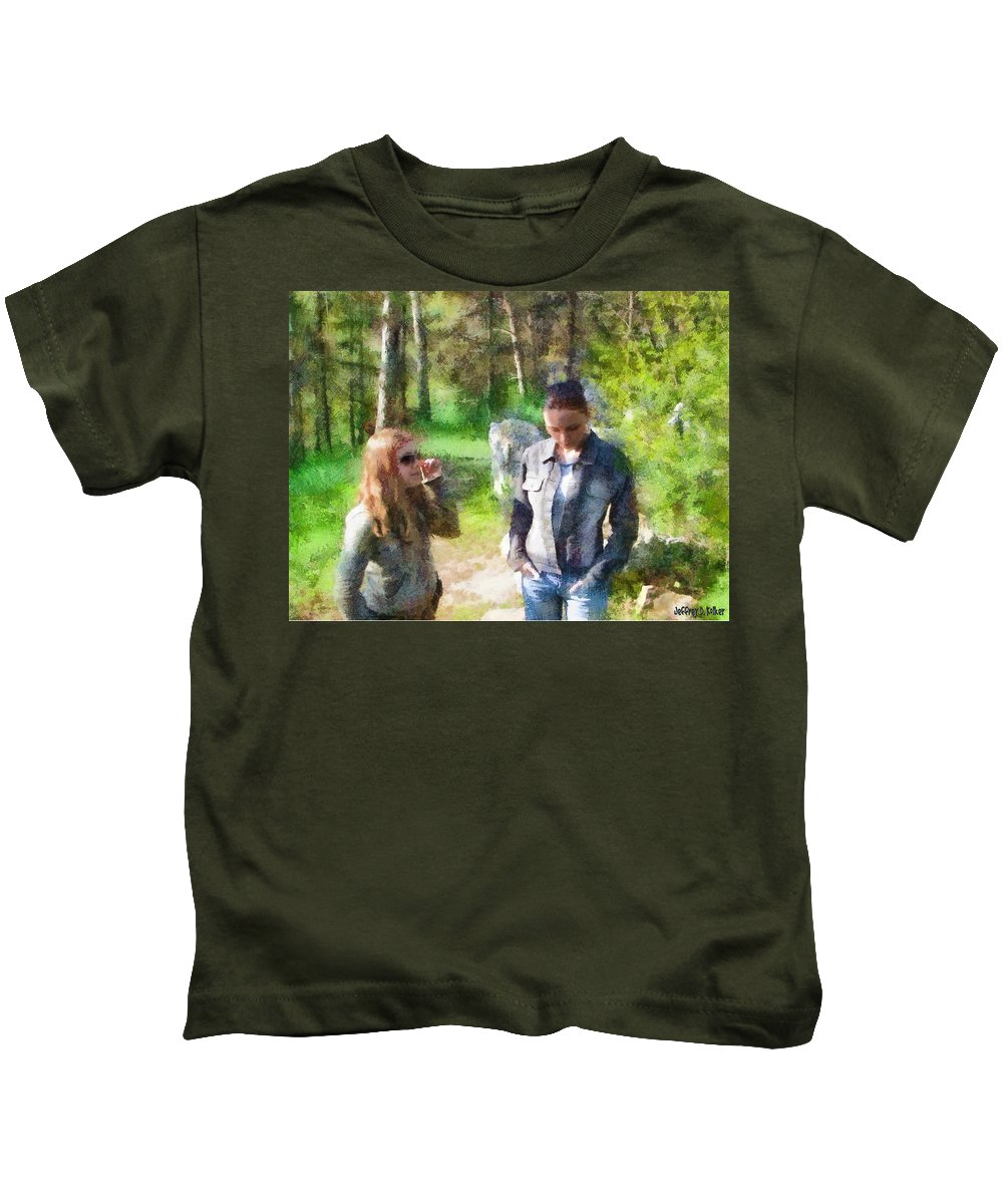 Sisters Kids T-Shirt featuring the painting Sisters by Jeffrey Kolker