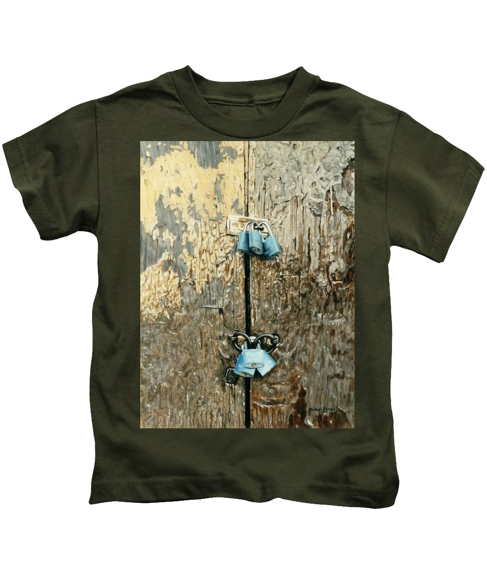 Hyperrealism Kids T-Shirt featuring the painting Six Locks by Michael Earney