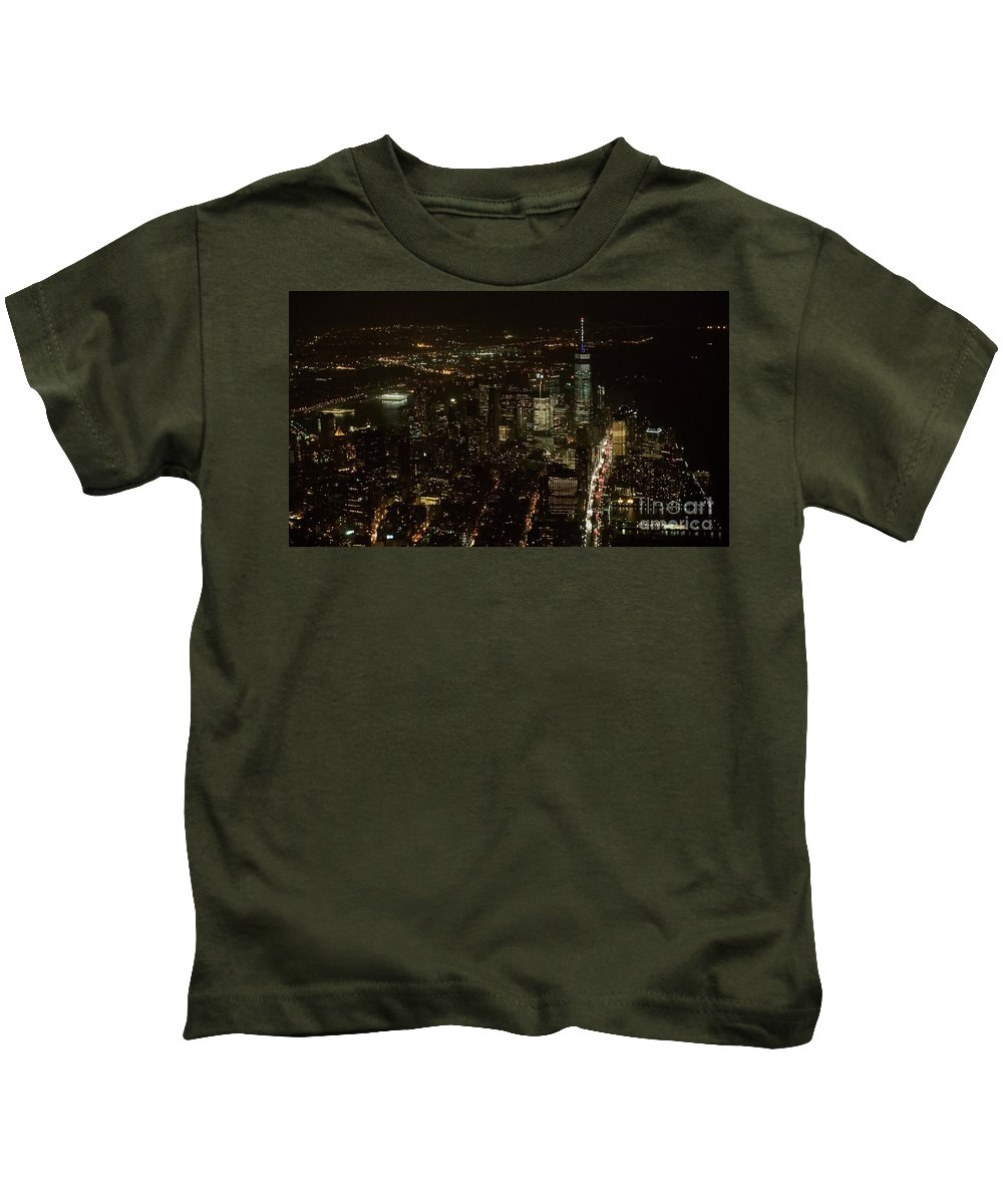 Skyscrapers Kids T-Shirt featuring the photograph Skyline Of New York City - Lower Manhattan Night Aerial by David Oppenheimer