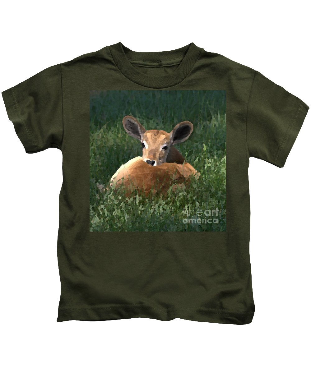 Fawn Kids T-Shirt featuring the photograph Sleep Baby Sleep by Kim Henderson