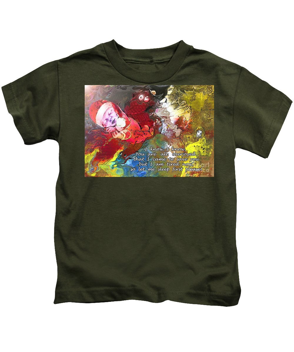 Messiah Painting Kids T-Shirt featuring the painting Sleepig Messiah by Miki De Goodaboom