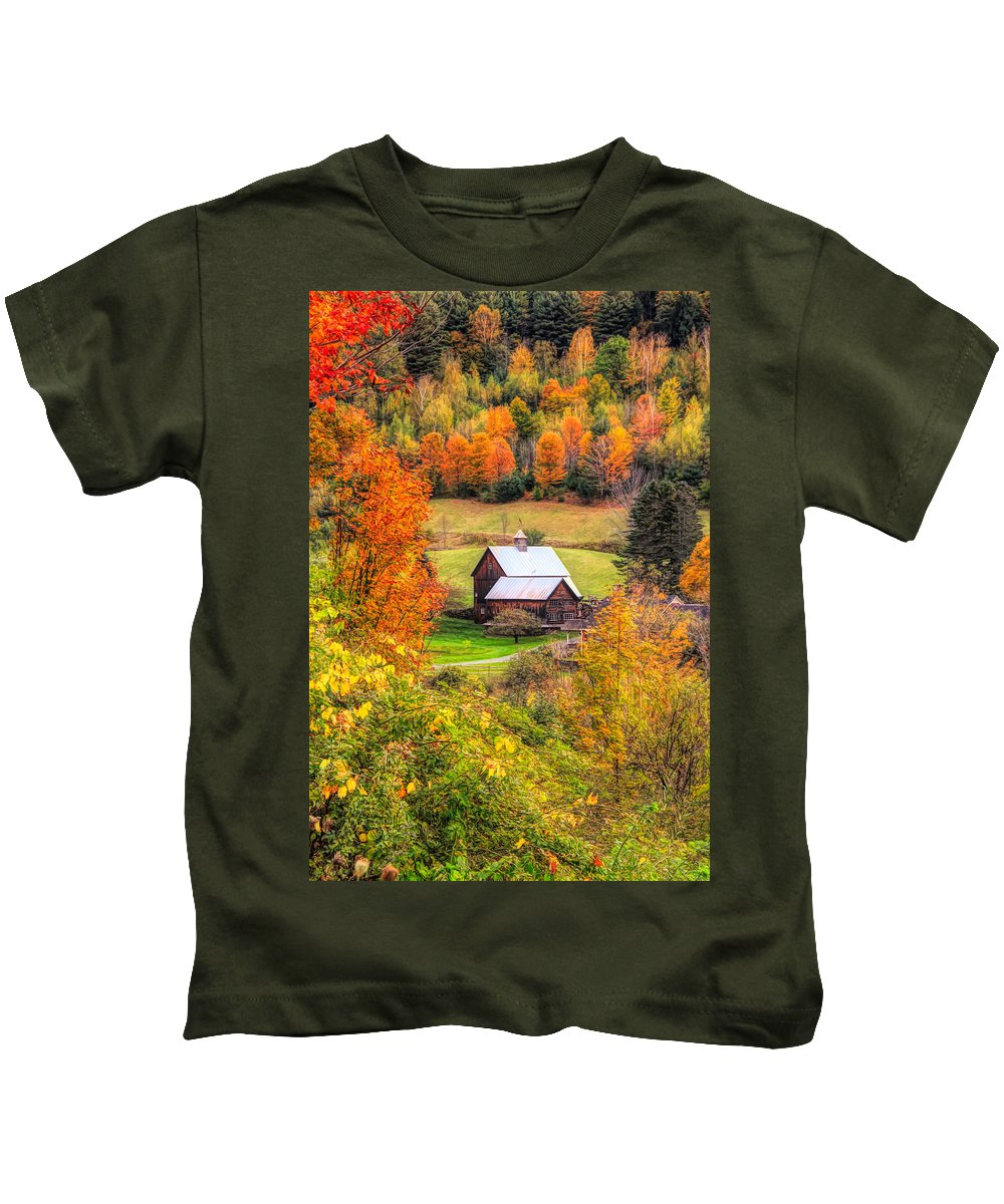 Sleepy Hollow Farm In Fall Kids T-Shirt featuring the mixed media Sleepy Hollow Farm In Fall by Dan Sproul