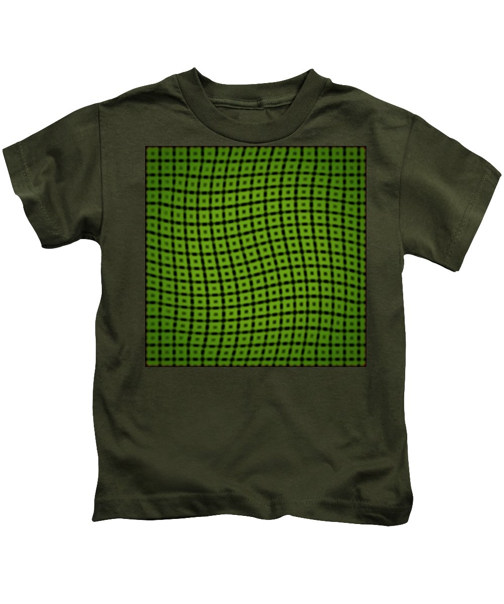 Geometric Kids T-Shirt featuring the digital art Slide In Green by Randolph Ping