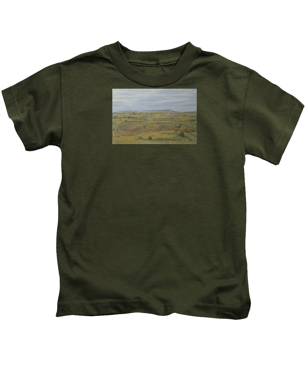 Slope County Kids T-Shirt featuring the drawing Slope County Splendor by Cris Fulton