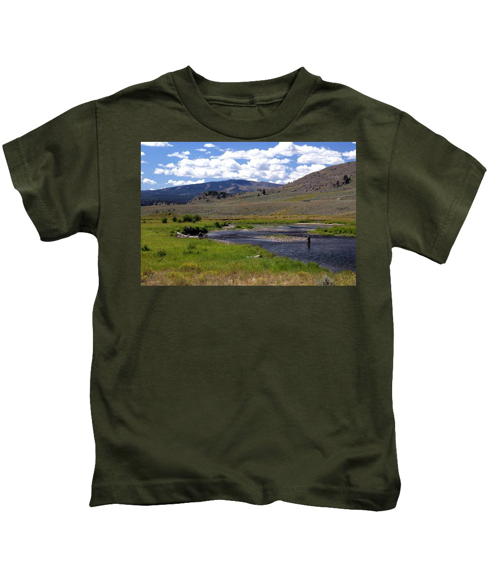 Yellowston National Park Kids T-Shirt featuring the photograph Slough Creek Angler by Marty Koch