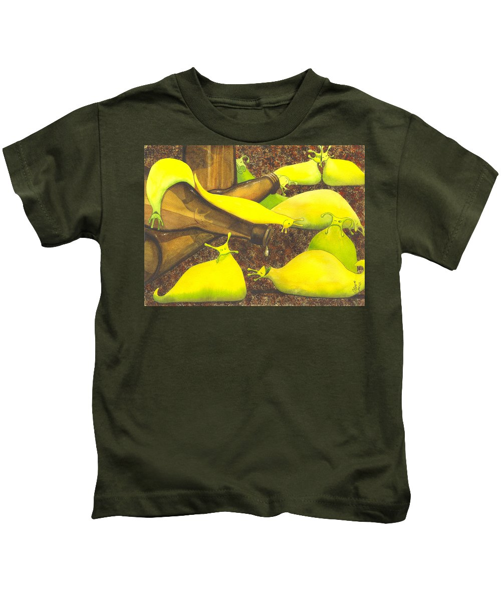 Slug Kids T-Shirt featuring the painting Slugaholics by Catherine G McElroy