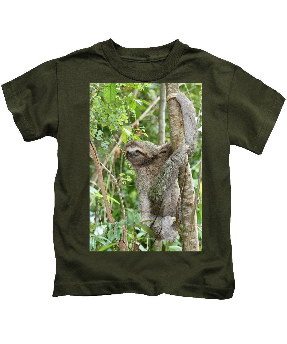 Sloth Kids T-Shirt featuring the photograph Smiling Sloth by Kelly Foreman
