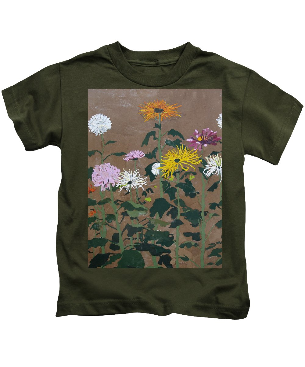 Collage Kids T-Shirt featuring the painting Smith's Giant Chrysanthemums by Leah Tomaino