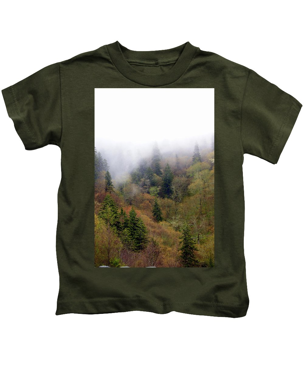 Fog Kids T-Shirt featuring the photograph Smoky Mount Vertical by Marty Koch