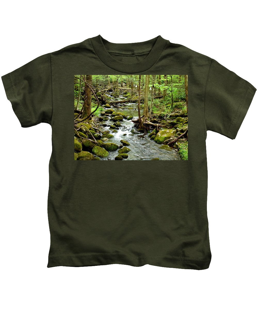 Smoky Mountains Kids T-Shirt featuring the photograph Smoky Mountain Stream 1 by Nancy Mueller