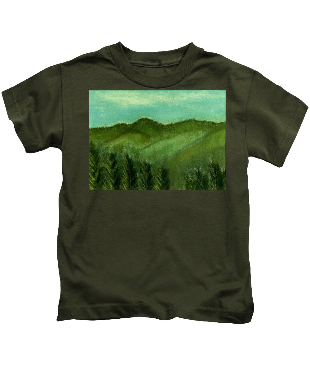 Trees Kids T-Shirt featuring the painting Smoky Mountains by Melvin Moon