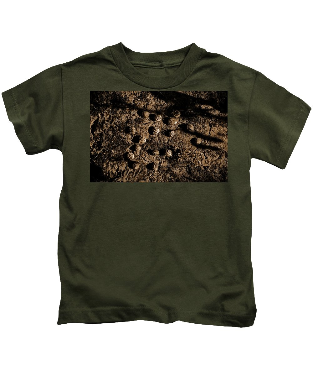 Earth Snails Israel Kids T-Shirt featuring the pyrography Snails by George St