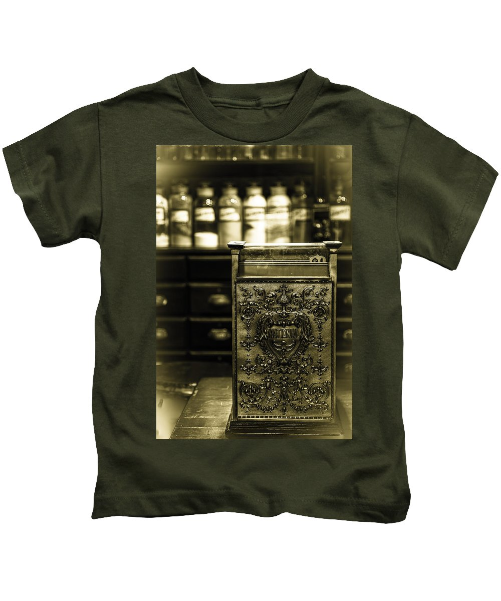 Pharmacy Kids T-Shirt featuring the photograph Snake Oil by William Fredette-huffman