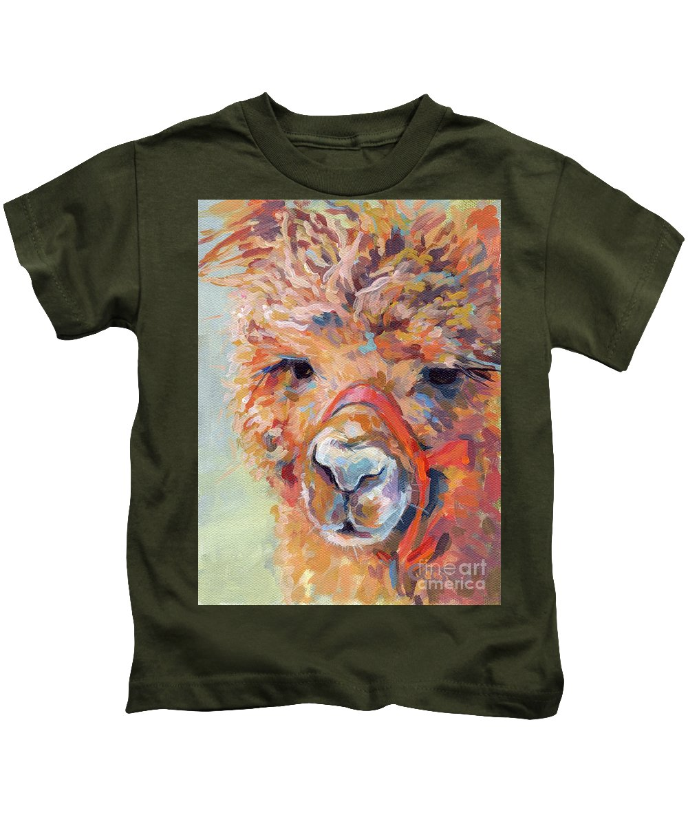 Llama Kids T-Shirt featuring the painting Snickers by Kimberly Santini