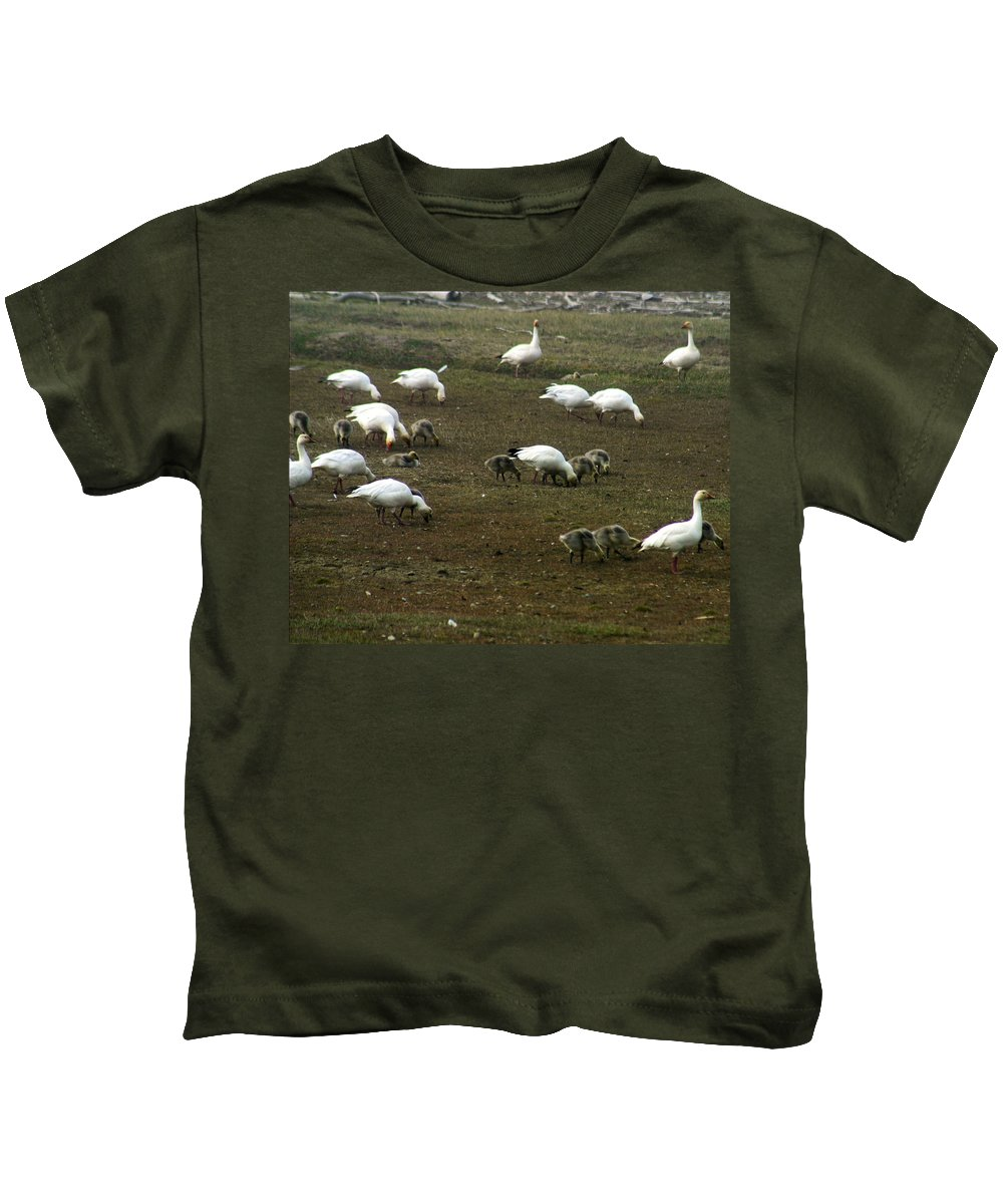 Snow Geese Kids T-Shirt featuring the photograph Snow Geese by Anthony Jones
