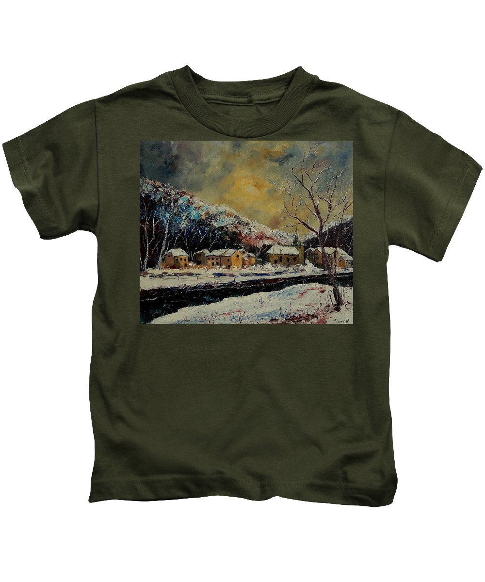 Winter Kids T-Shirt featuring the painting Snow In Bohan by Pol Ledent